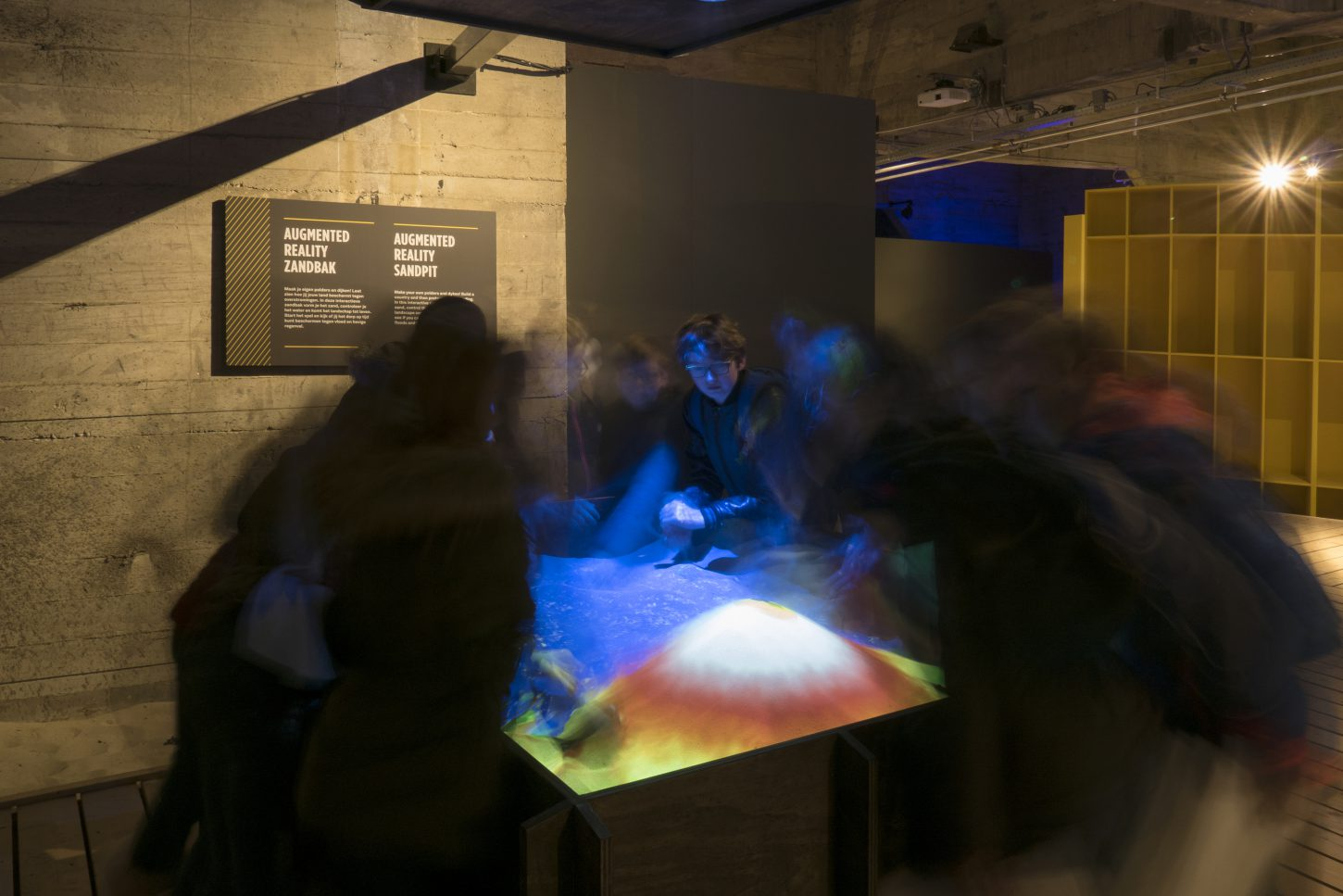 "Interactive augmented reality sandpit in the exhibition ""The Water will Come"" at Watersnoodmuseum, The Netherlands"