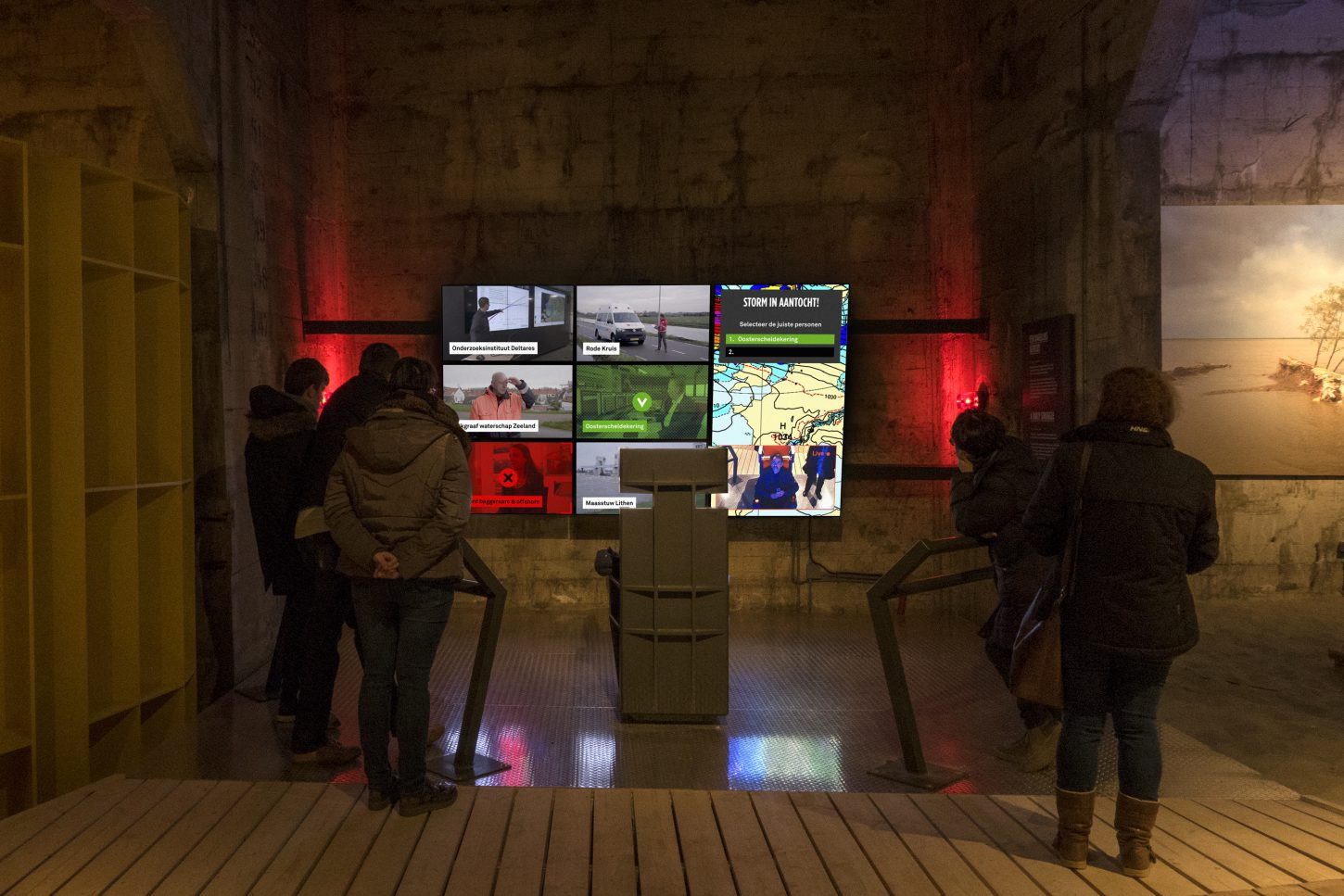 "Interactive educational game ""Controlroom"" in the interactive exhibition ""The Water will Come"" at Watersnoodmuseum, The Netherlands"