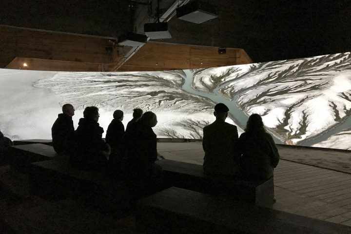"Panoramic audiovisual experience in the interactive exhibition ""The Water will Come"" at Watersnoodmuseum, The Netherlands"