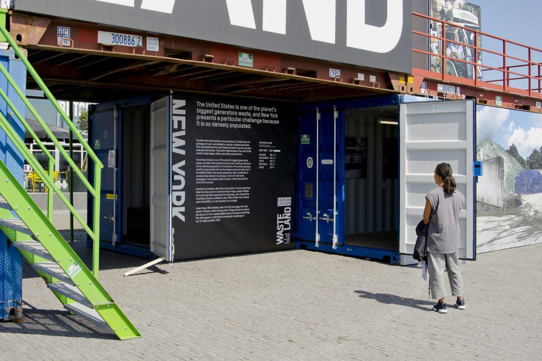 Installation shot showing Information about New York City's waste management at the outdoor exhibition Wasteland, Kadir van Lohuizen