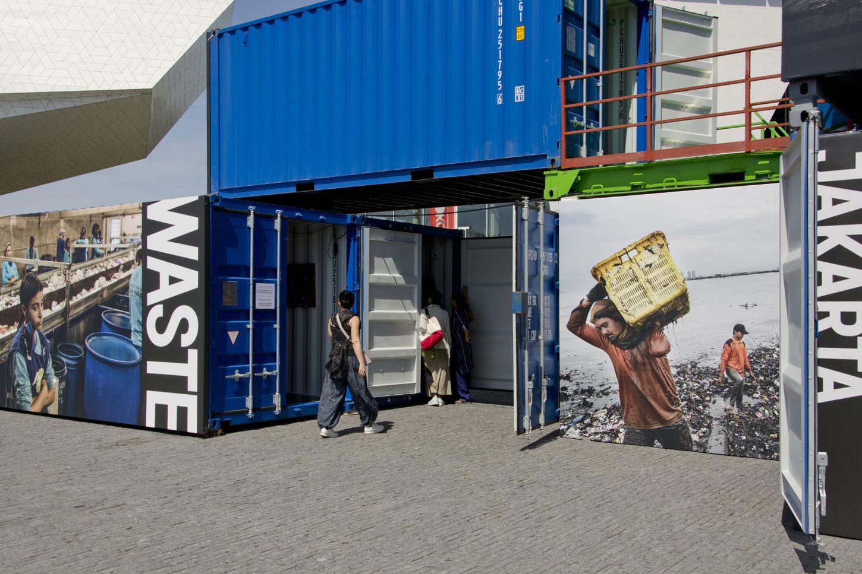 Installation shot showing Information about Jakarta's waste management at the outdoor exhibition Wasteland, Kadir van Lohuizen